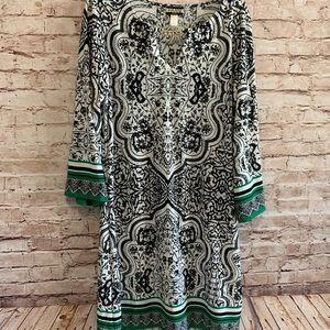 Pattern Dress Black and White